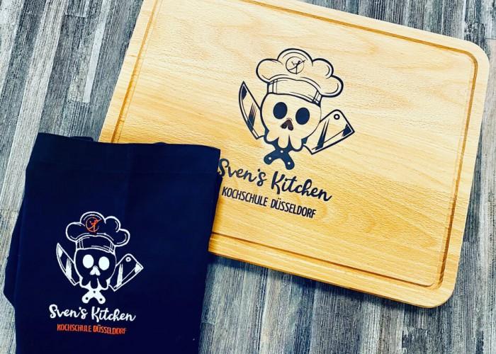 Geschenkpaket Kochschürze & Holzbrett für Hobbyköche